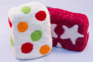 pattern felted soap