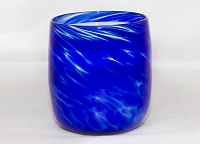 Royal Blue Handblown Glass Candle (Refillable)